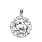 Sterling Silver Aries April Zodiac Sign Round Pendant Necklace