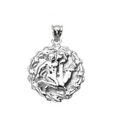 Sterling Silver Aquarius February Zodiac Sign Round Pendant Necklace