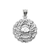 Sterling Silver Cancer July Zodiac Sign Round Pendant Necklace