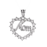 """White Gold """"MOM"""" Open Heart Pendant Necklace"""