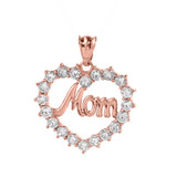 """Rose Gold """"MOM"""" Open Heart Pendant Necklace"""