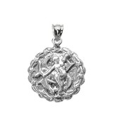 Sterling Silver Sagittarius December Zodiac Sign Round Pendant Necklace