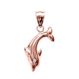 Rose Gold Diamond Dolphin Pendant Necklace