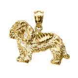 Yellow Gold Diamond Cut King Charles Spaniel Pendant Necklace