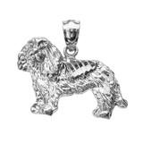 White Gold Diamond Cut King Charles Spaniel Pendant Necklace