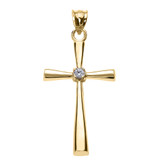 Yellow Gold Solitaire Diamond Cross Pendant Necklace