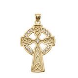 Yellow Gold Diamond Trinity Knot Celtic Cross Pendant Necklace