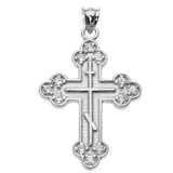 White Gold Cubic Zirconia Eastern Orthodox Cross Pendant Necklace