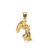 Yellow Gold Praying Angel Pendant Necklace