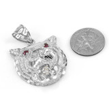 Sterling Silver Tiger Head Red CZ Pendant