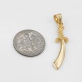 Polished Gold Scimitar Sword Pendant Necklace