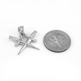 925 Sterling Silver Crossed Daggers Pendant Necklace