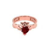 Rose Gold Lab Created CZ Celtic Design Claddagh Proposal Ring