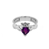 White Gold Lab Created CZ Celtic Design Claddagh Proposal Ring