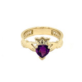 Yellow Gold Lab Created CZ Celtic Design Claddagh Proposal Ring