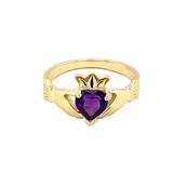Yellow Gold Birthstone CZ Claddagh Proposal Ring