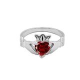 White Gold Birthstone CZ Claddagh Proposal Ring