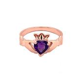 Rose Gold Birthstone CZ Claddagh Proposal Ring
