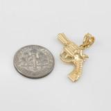 Solid Gold Revolver Pistol Gun Pendant Necklace