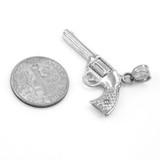 Solid White Gold Gun Revolver Pistol Pendant Necklace