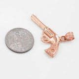 Solid Rose Gold Gun Revolver Pistol Pendant Necklace