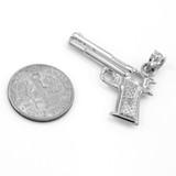 Solid White Gold Pistol Gun Pendant Necklace