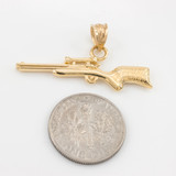 Yellow Gold Scope Sniper Rifle Pendant Necklace