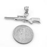 White Gold Scope Sniper Rifle Pendant Necklace