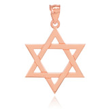 Solid Rose Gold Jewish Star of David Pendant Necklace (Large)