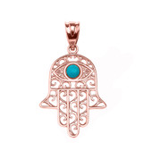 Rose Gold Hamsa Hand With Turquoise Evil Eye Pendant Necklace