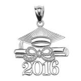 White Gold Class of 2016 Graduation Cap Pendant Necklace with Diamond