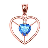 Elegant Rose Gold CZ and December Birthstone CZ Solitaire Heart Pendant Necklace