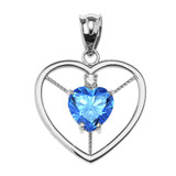 Elegant White Gold CZ and December Birthstone CZ Solitaire Heart Pendant Necklace