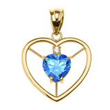 Elegant Yellow Gold CZ and December Birthstone CZ Solitaire Heart Pendant Necklace