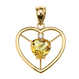 Elegant Yellow Gold CZ and November Birthstone CZ Solitaire Heart Pendant Necklace