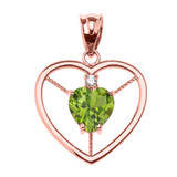 Elegant Rose Gold CZ and August Birthstone CZ Solitaire Heart Pendant Necklace