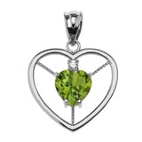 Elegant Sterling Silver CZ and August Birthstone Light Green Heart Solitaire Pendant Necklace