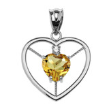 Elegant Sterling Silver CZ and November Birthstone Yellow Heart Solitaire Pendant Necklace
