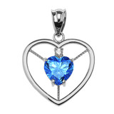 Elegant Sterling Silver CZ and December Birthstone Light Blue Heart Solitaire Pendant Necklace