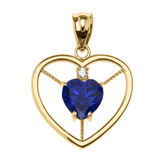 Elegant Yellow Gold CZ and September Birthstone Blue CZ Heart Solitaire Pendant Necklace