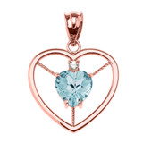 Elegant Rose Gold CZ and March Birthstone Light Blue Aqua Heart Solitaire Pendant Necklace