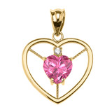 Elegant Yellow Gold CZ and October Birthstone Pink CZ Heart Solitaire Pendant Necklace