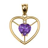 Elegant Yellow Gold CZ and June Birthstone Light Purple CZ Heart Solitaire Pendant Necklace