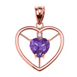 Elegant Rose Gold CZ and June Birthstone Light Purple CZ Heart Solitaire Pendant Necklace