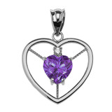 Elegant Sterling Silver CZ and June Birthstone Light Purple CZ Heart Solitaire Pendant Necklace
