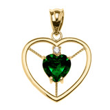 Elegant Yellow Gold CZ and May Birthstone Green CZ Heart Solitaire Pendant Necklace