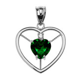 Elegant Sterling Silver CZ and May Birthstone Green CZ Heart Solitaire Pendant Necklace