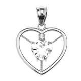 Elegant White Gold CZ and April Birthstone White CZ Heart Solitaire Pendant Necklace