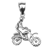 Sterling Silver Off Road Mountain Motorcycle Pendant Necklace