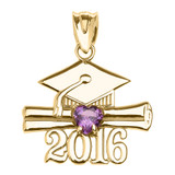 Yellow Gold Heart February Birthstone Purple Cz Class of 2016 Graduation Pendant Necklace